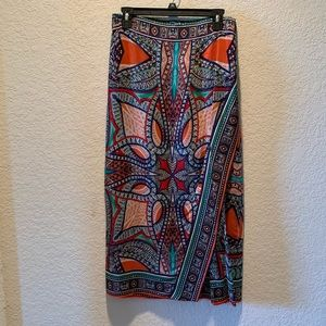 Maeve scarf print 100% silk faux wrap skirt, 6